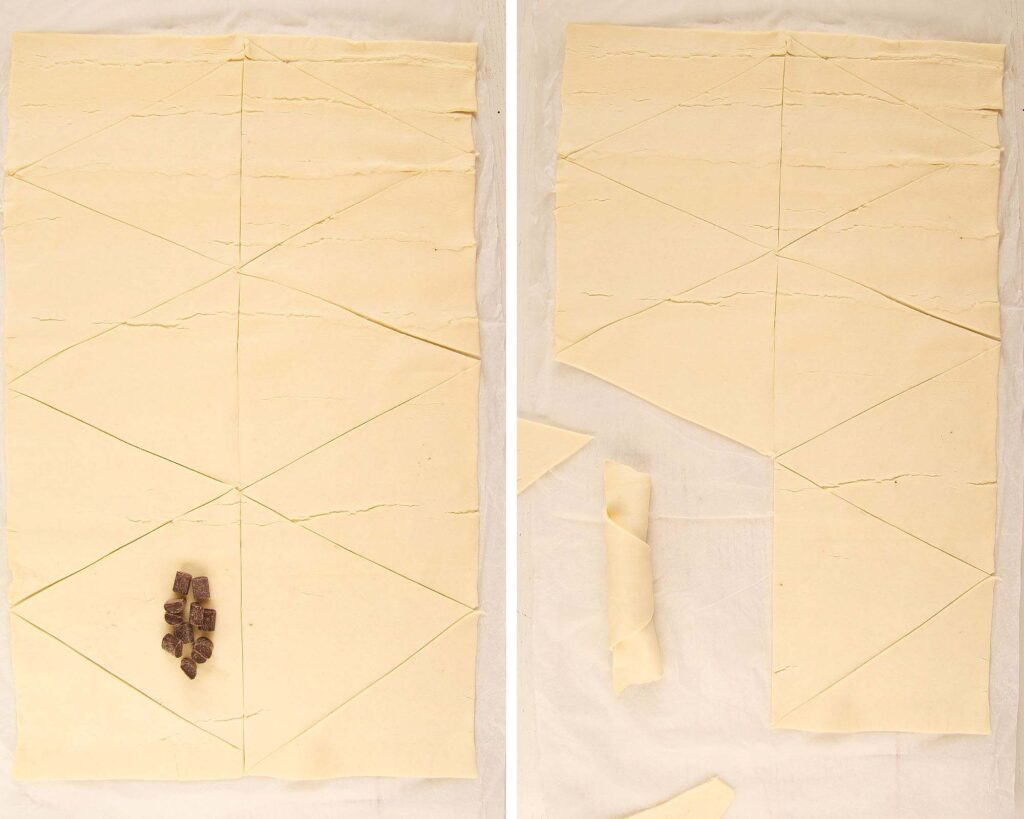 collage of two picture showing how to cut and fill pastry