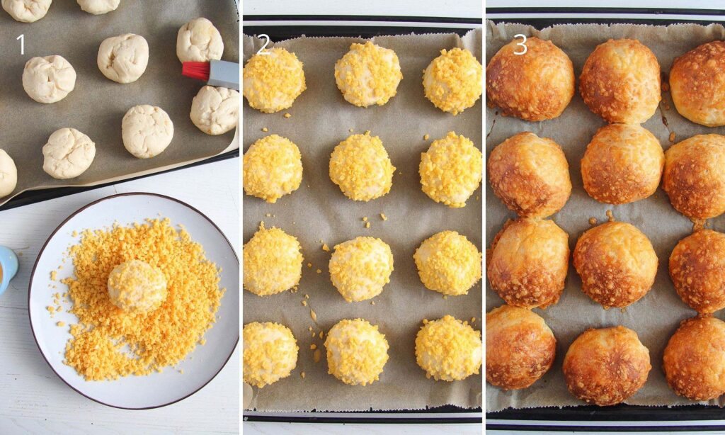 collage of three pictures showing how to roll dough pieces in grated cheese