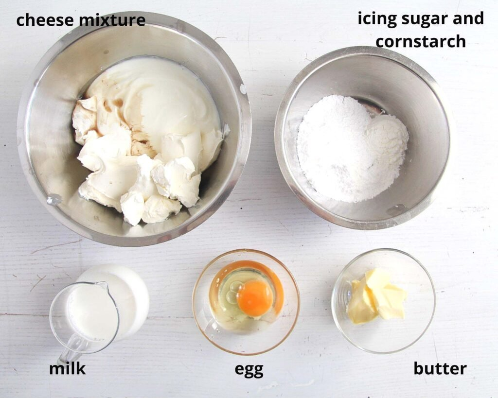 ingredients for making the filling for cheese tarts