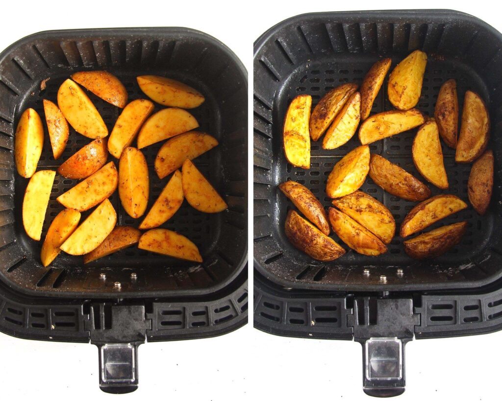 potatoes in the basket of an air fryer before and after cooking