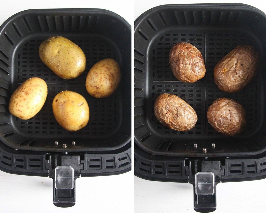 collage of two pictures showing whole potatoes before and after baking in an air fryer
