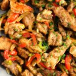 close up fried meat pieces and veggies