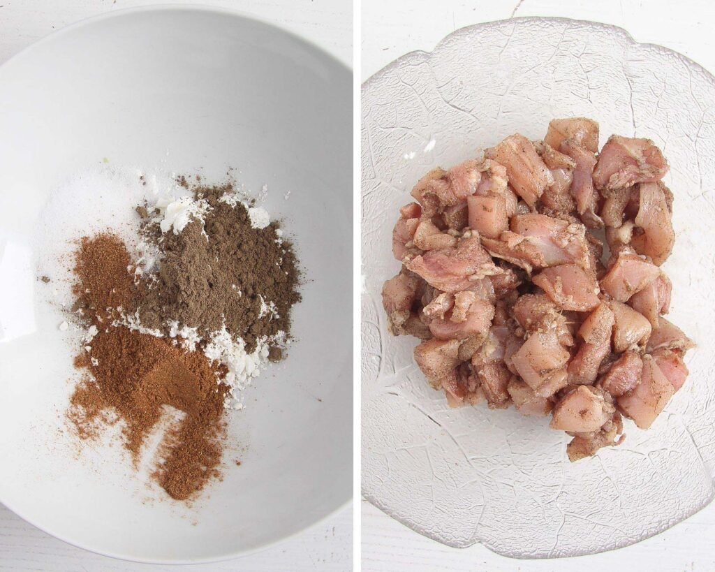 collage of two pictures showing how to spice meat pieces