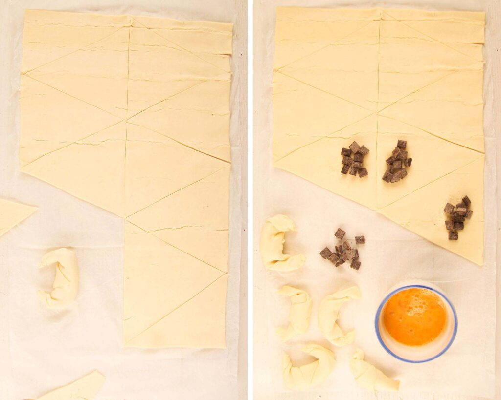 collage of two pictures showing how to shape mini croissants