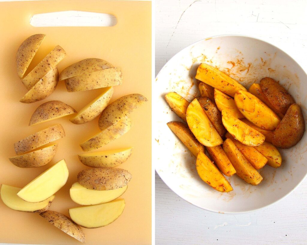 collage of two pictures showing raw and spiced potato wedges