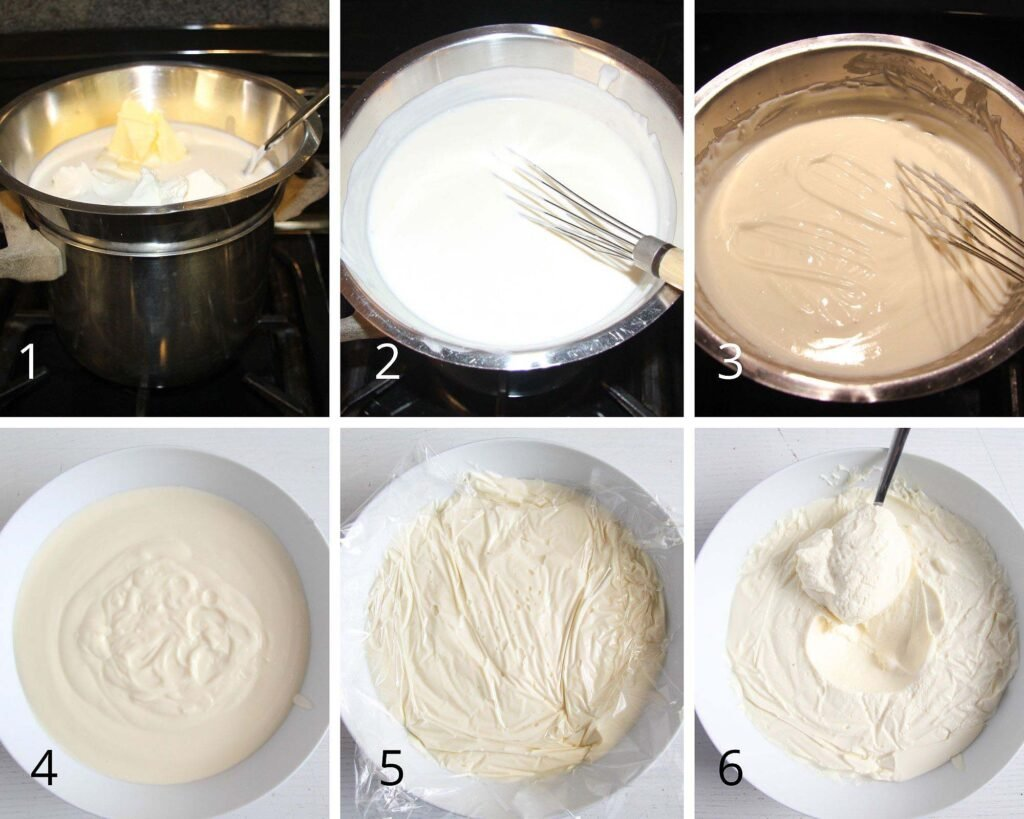 collage of six pictures showing how to make sweet cheese filling