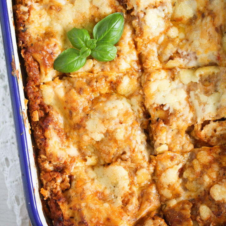 thermomix lasagne in a tin baking dish overhead shot