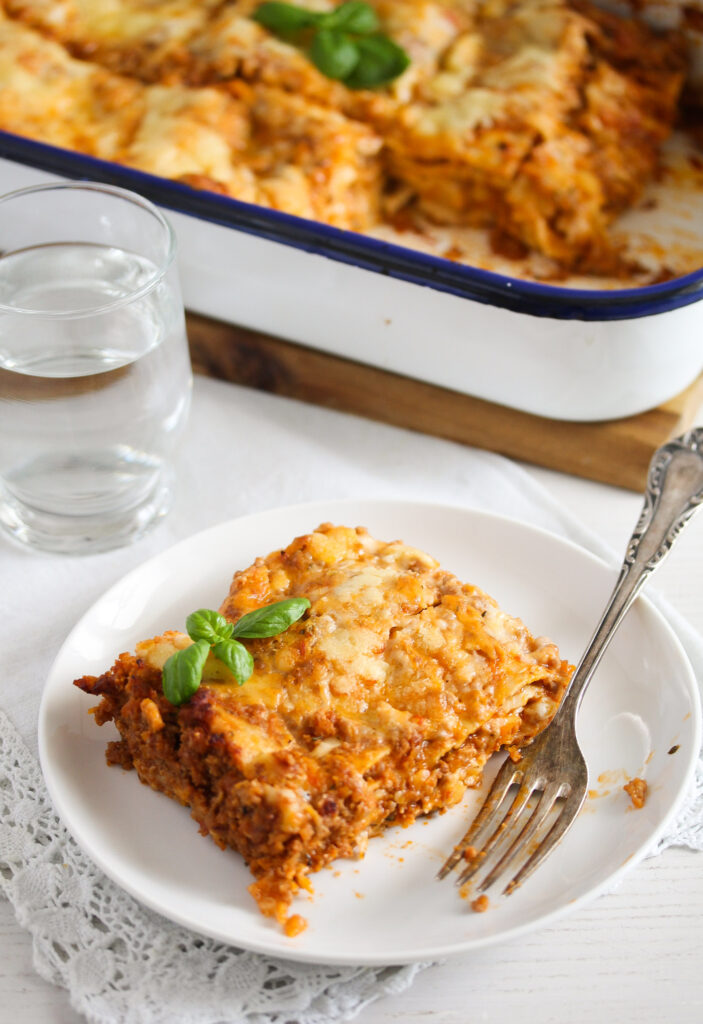 bechamel lasagna piece with meat sauce