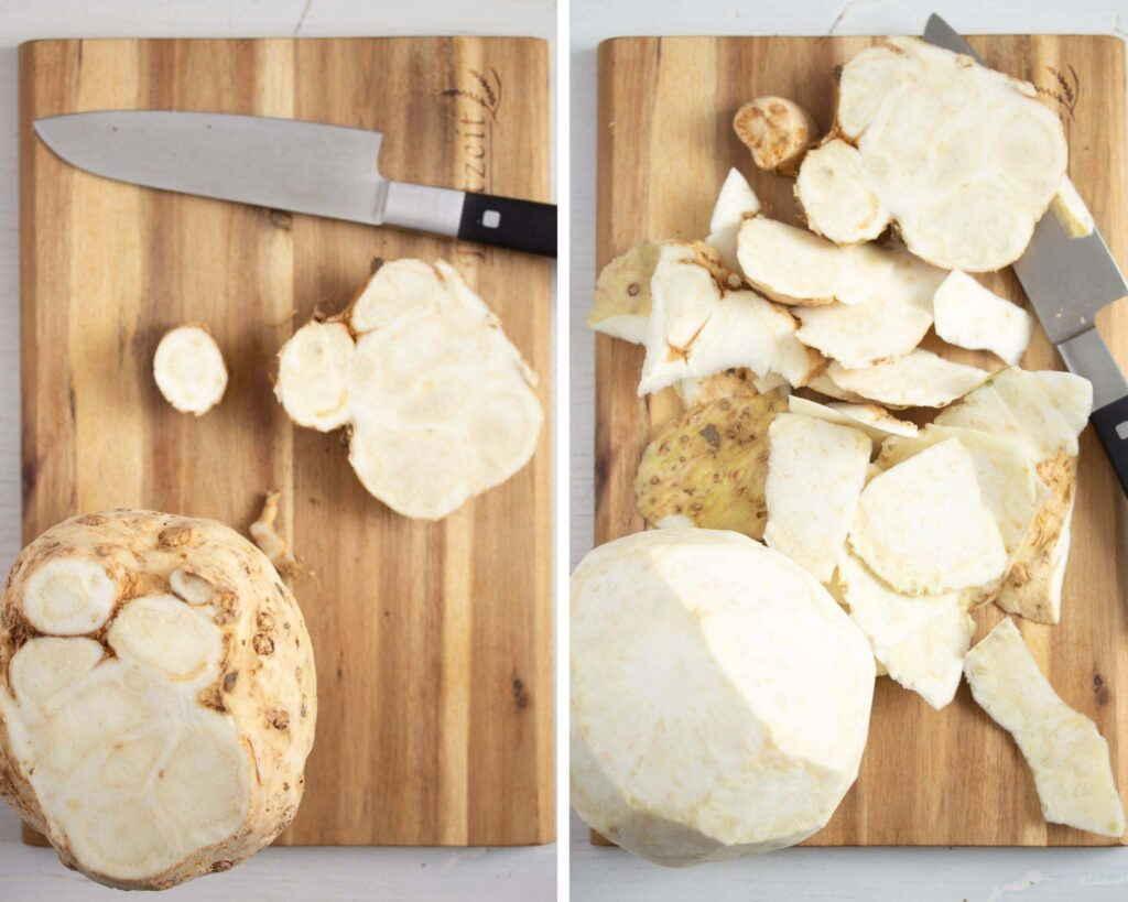 collage of two pictures of peeling celery root.