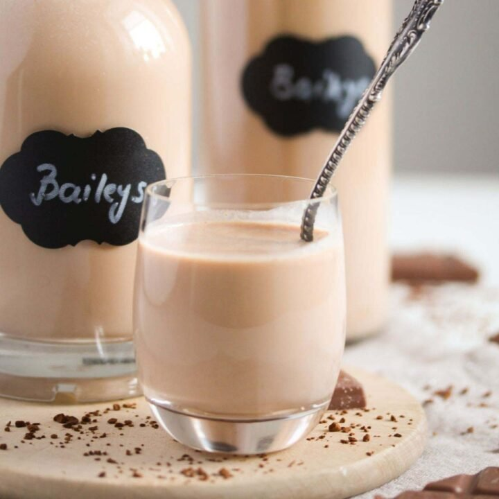 thermomix baileys close up in a small glass with a vintage spoon