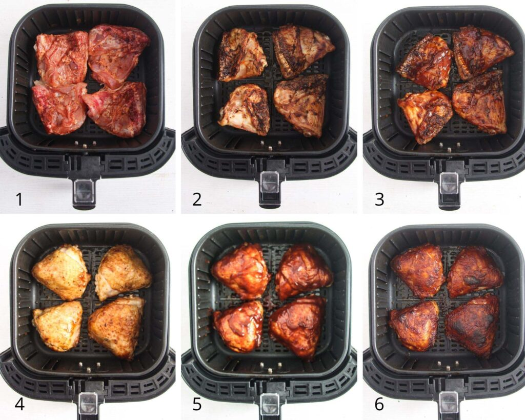 collage of pictures showing chicken thighs cooking in an air fryer