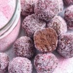 pink chocolate truffles close up