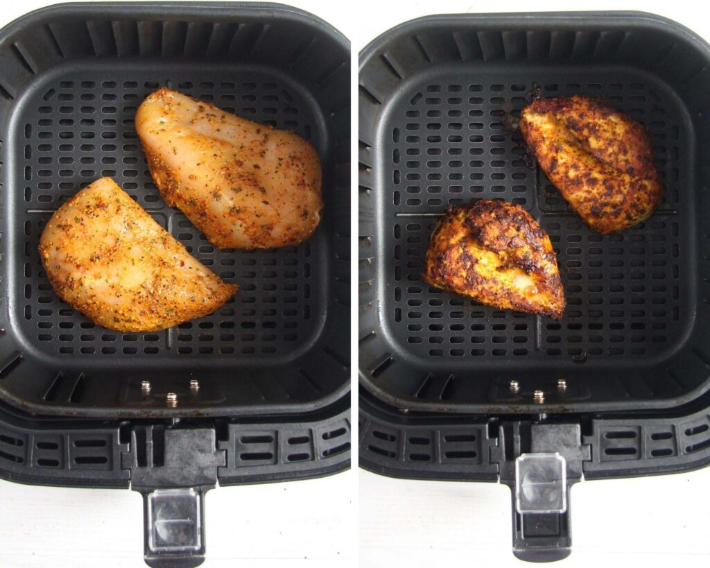 collage of two pictures showing chicken pieces in an air fryer basket.