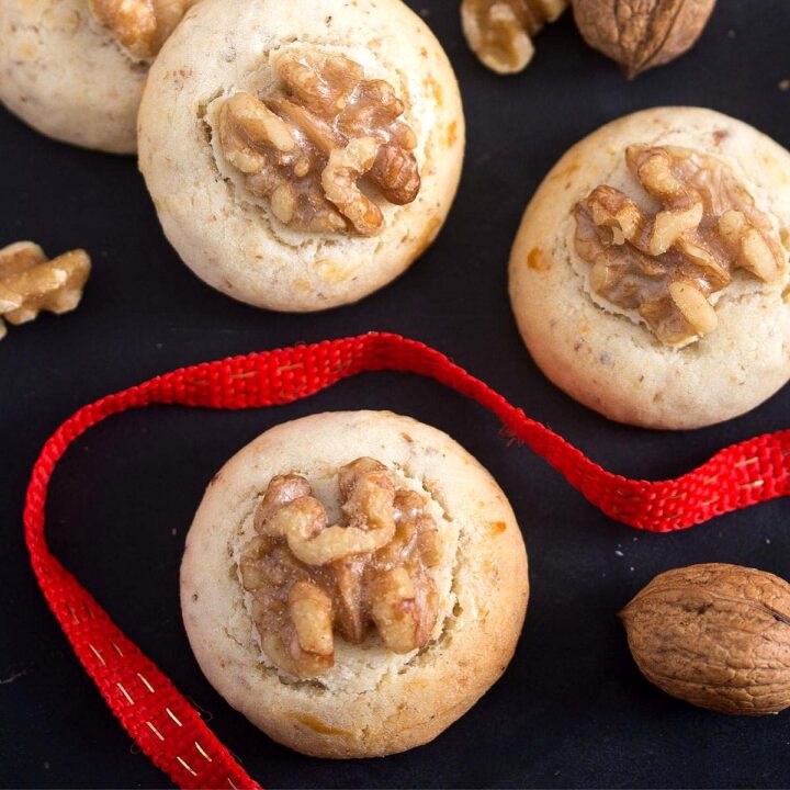 chinese walnut cookies close up