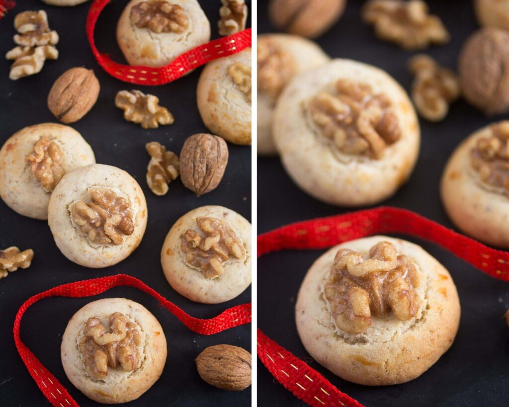 collage of two pictures of walnut cookies on a black board