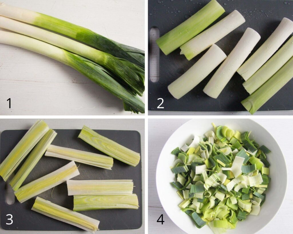 collage of four pictures showing how to cut leeks into pieces.