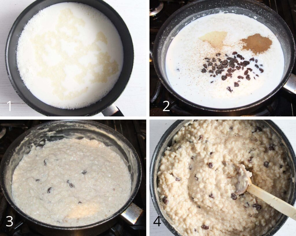 collage of four pictures of making rice pudding in a saucepan.