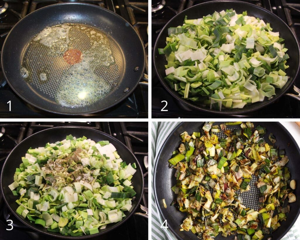 collage of four pictures showing how to cook leeks in a pan.