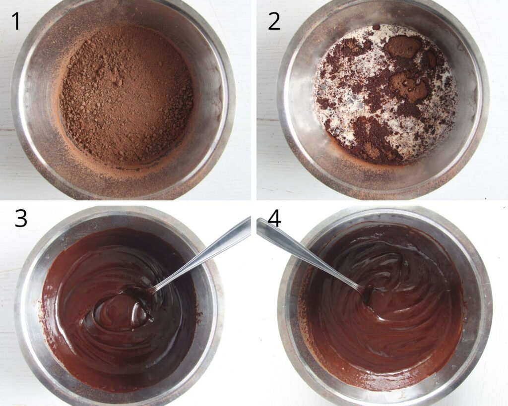 collage of four pictures showing how to make chocolate ganache