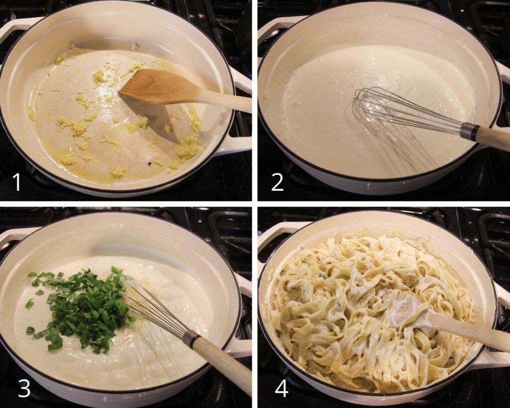 collage of four pictures of making cream cheese sauce for pasta.