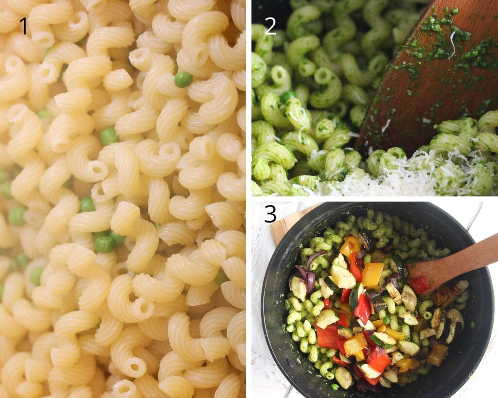 collage of three pictures of cooked noodles mixed with pesto and veggies