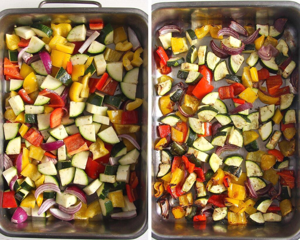 collage of two pictures showing veggie cubes before and after roasting in a tin