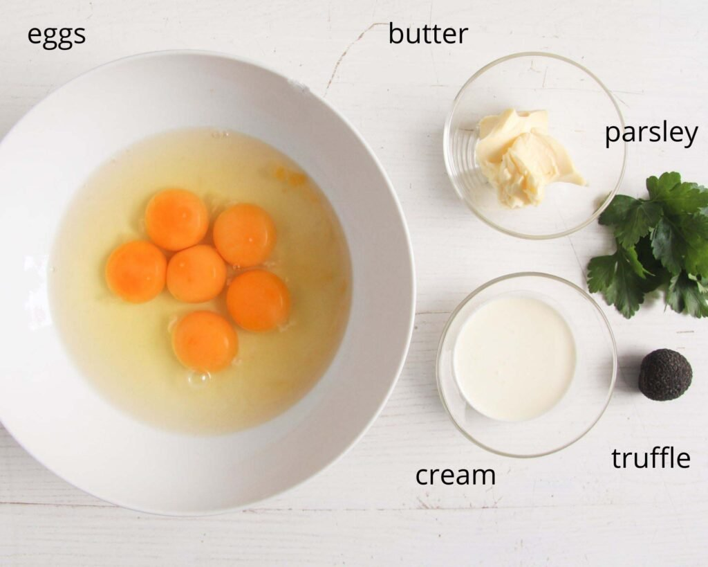 eggs, butter, cream, parsley, black truffle.