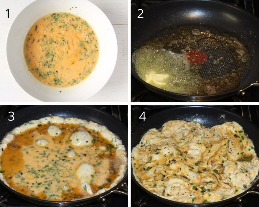 collage of four pictures of cooking eggs in a pan.