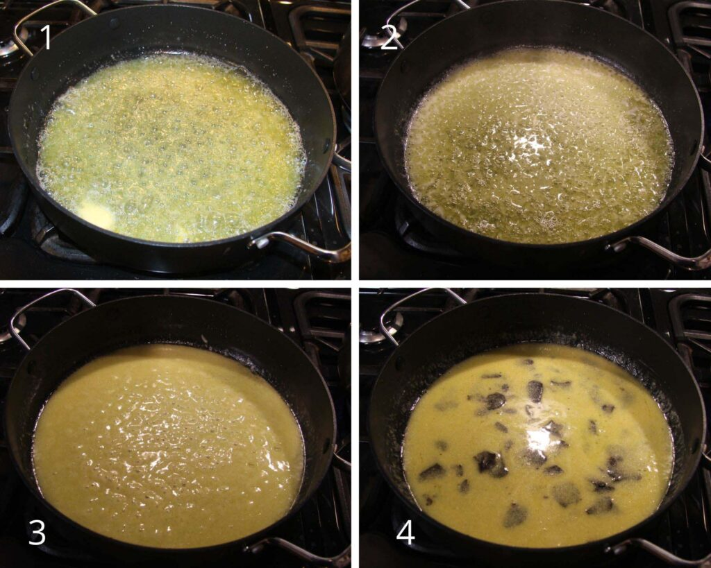 collage of four picture showing how to melt butter and parmesan and add grated truffles.