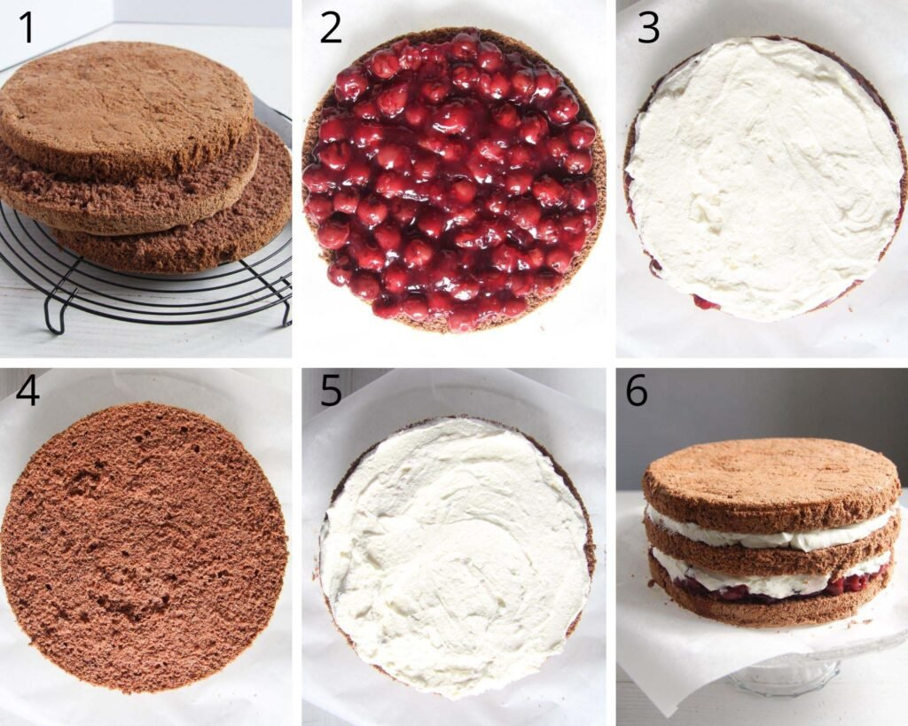 collage of six pictures of filling a cake with cherries and cream.