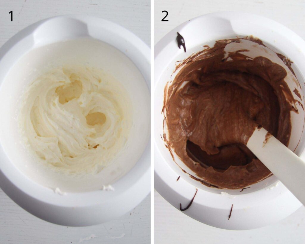 collage of two pictures of whipped cream and chocolate cream.