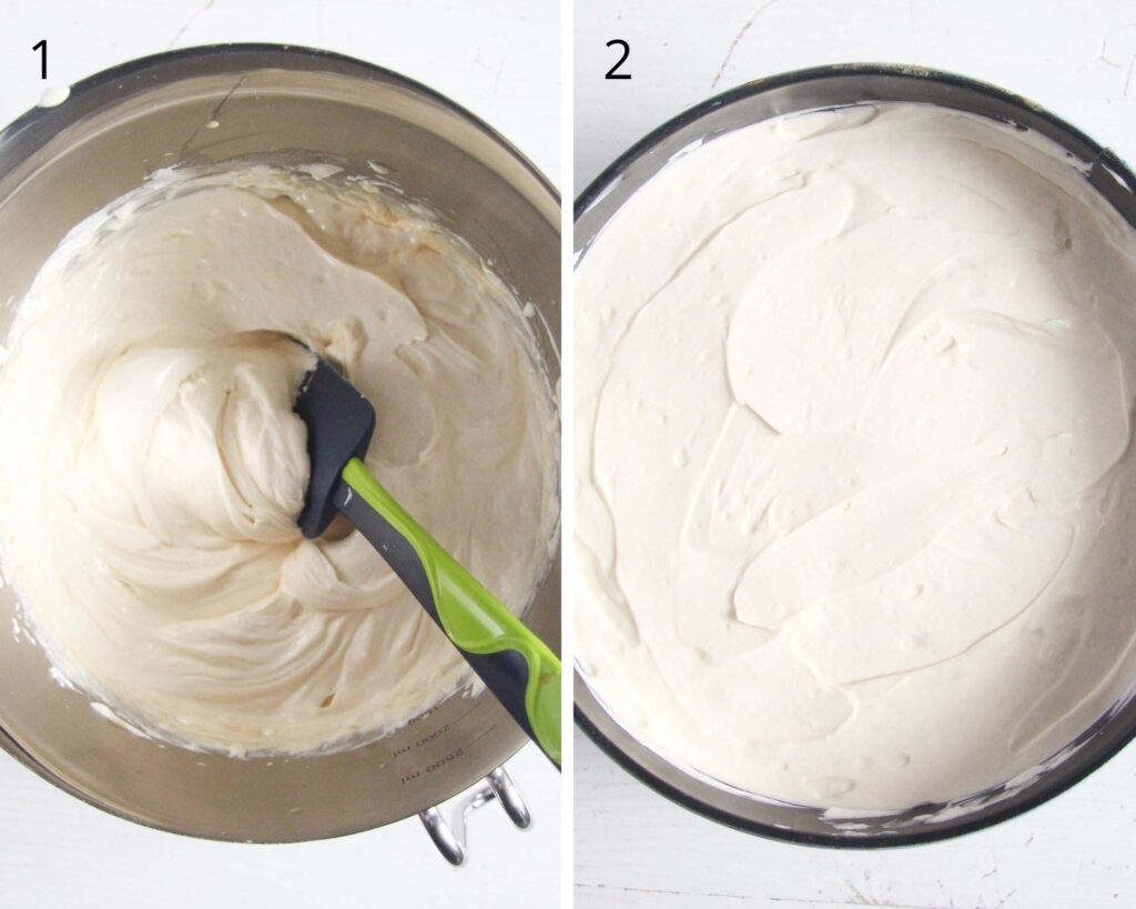 collage of two pictures of making cream cheese filling in a bowl.