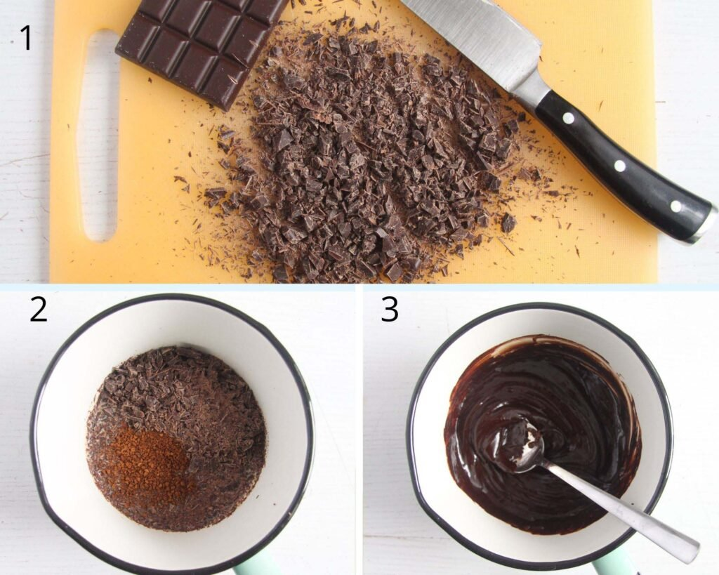 collage of three pictures of chopping and melting chocolate.