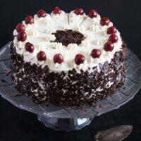 german black forest cake on a platter.