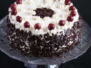 german black forest cake on a platter.