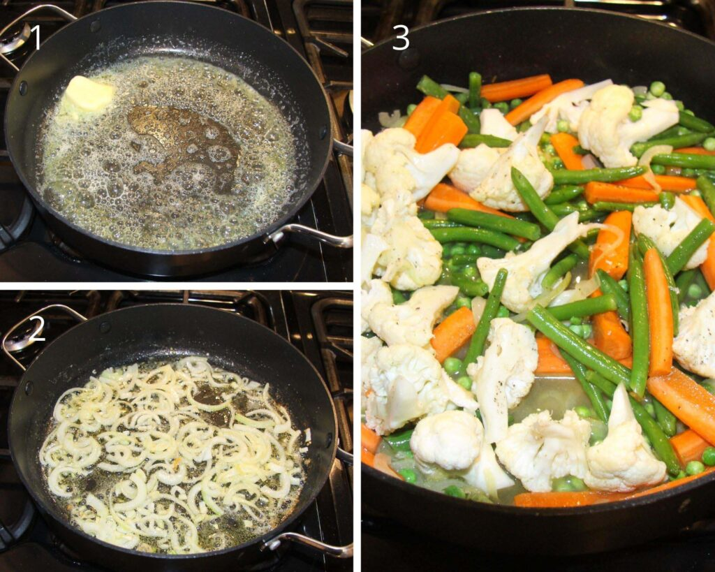 collage of three pictures of frying onions and cooking veggies.
