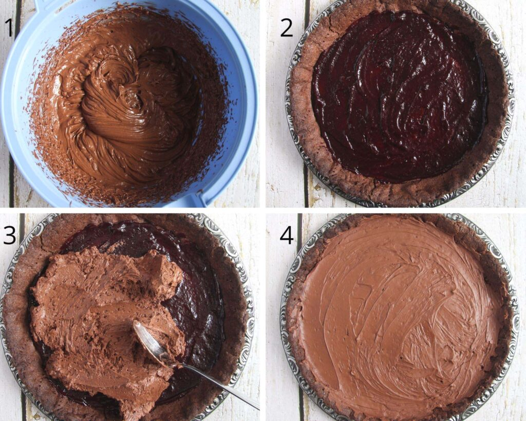 collage of four pictures of filling tart with ganache.