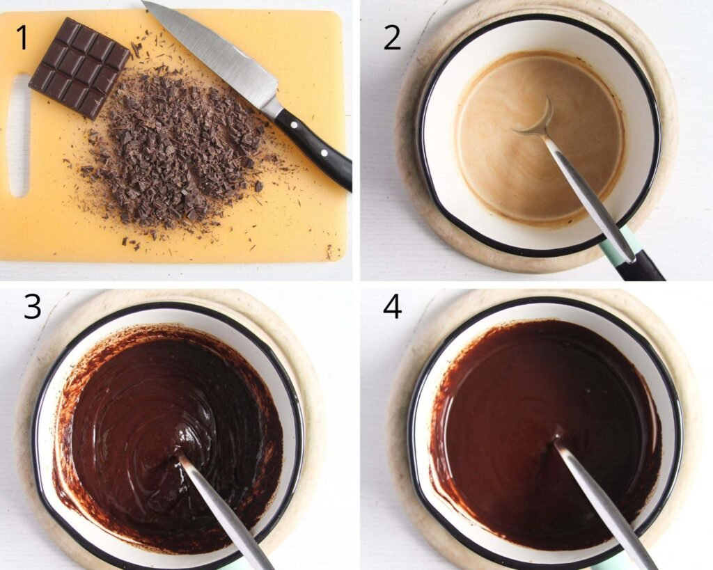 collage of four pictures of making ganache.