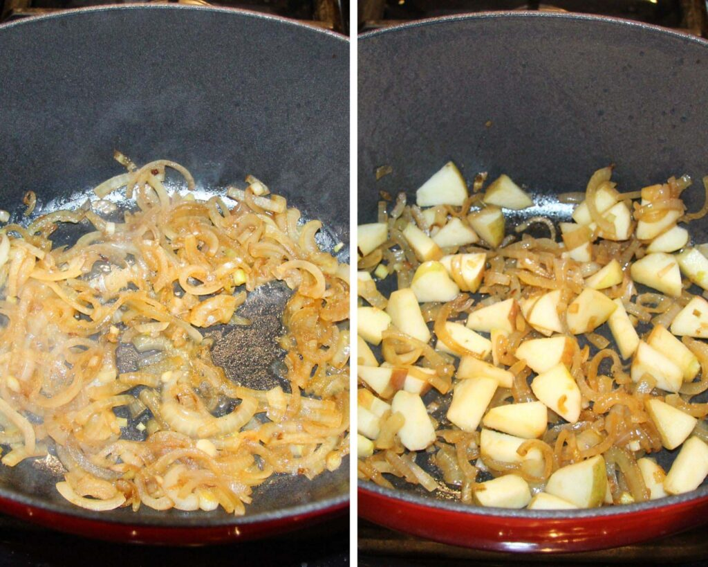 collage of two pictures of cooking onions and apples.