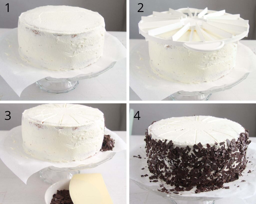 collage of four pictures of covering a cake with whipped cream and chocolate shavings.