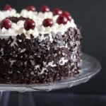 german cherry chocolate cake with chocolate shavings.