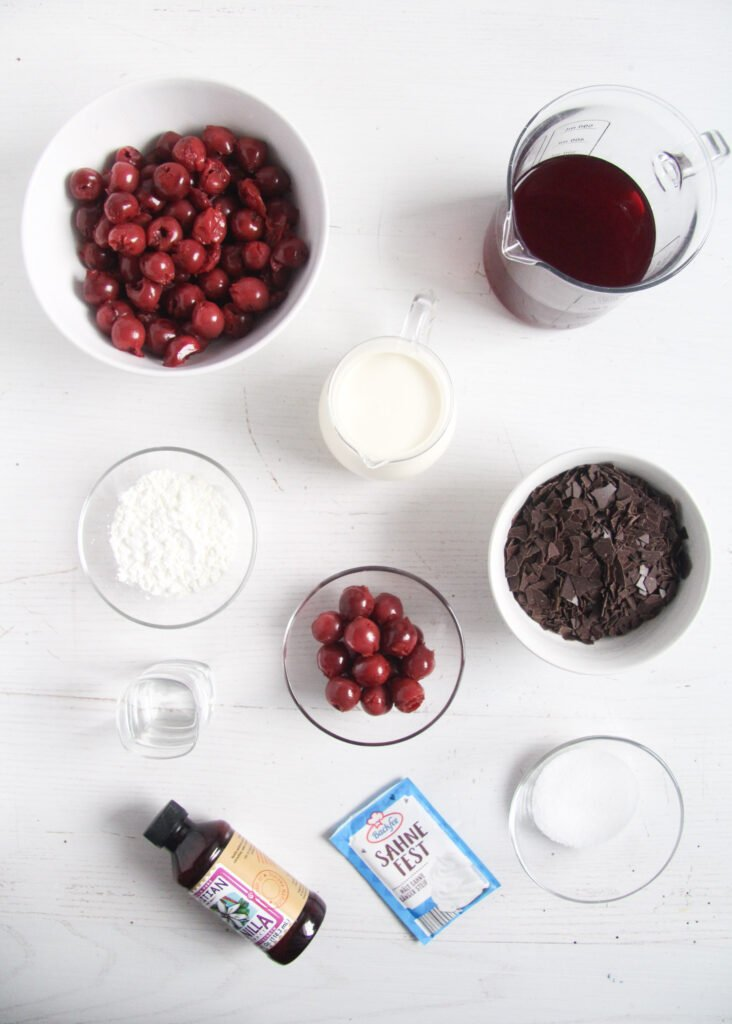 ingredients for making cake with cherry filling.