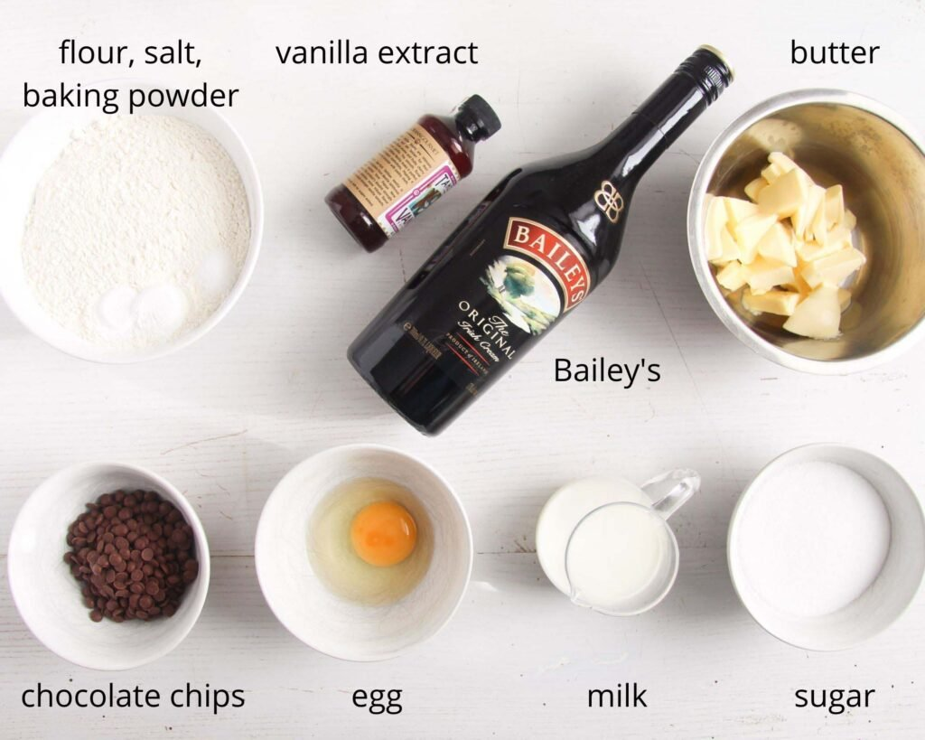 listed ingredients for making cupcakes with bailey's