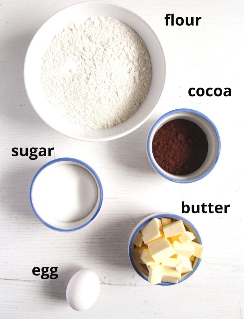 listed ingredients for making cocoa shortcrust.