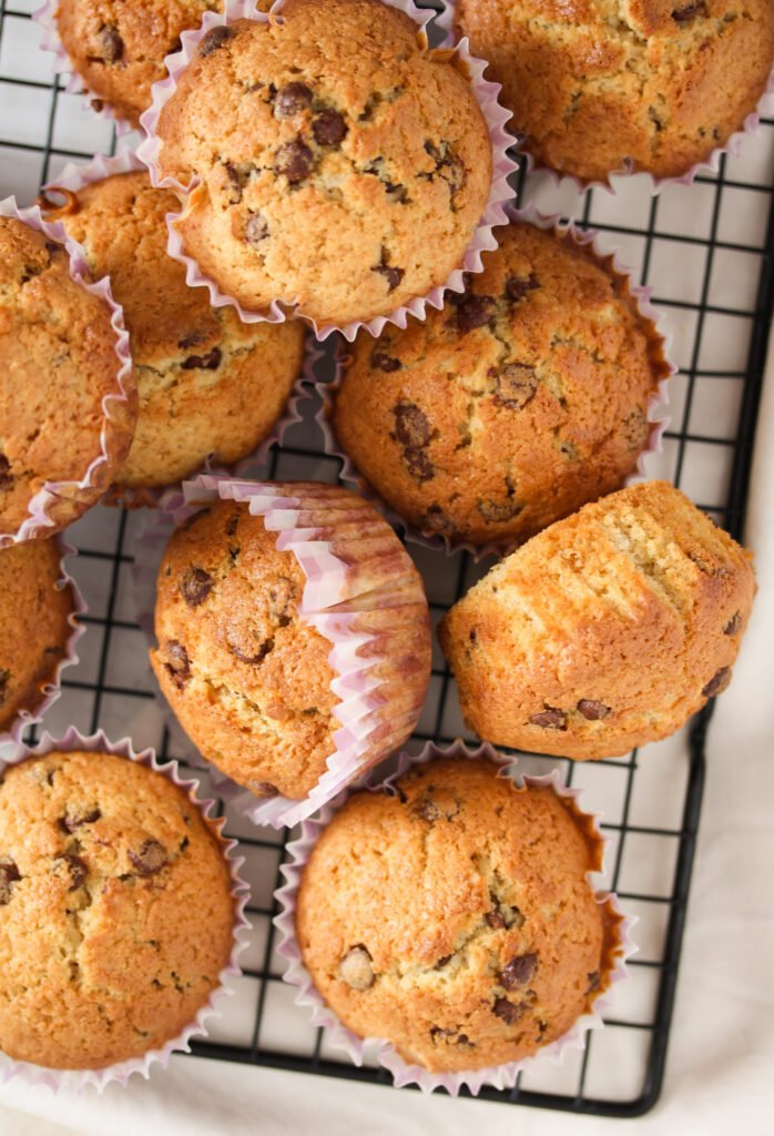 irish cream muffins on a wire rack.