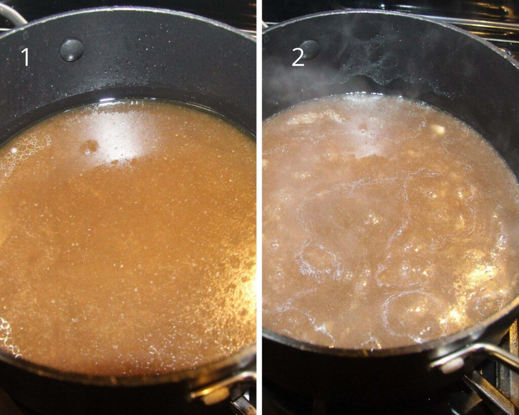 collage of two pictures showing lamb gravy made from drippings.