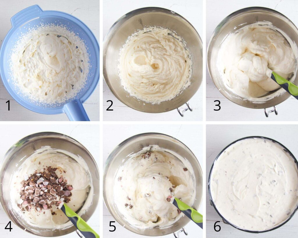 collage of six pictures showing how to mix filling for cheesecake.
