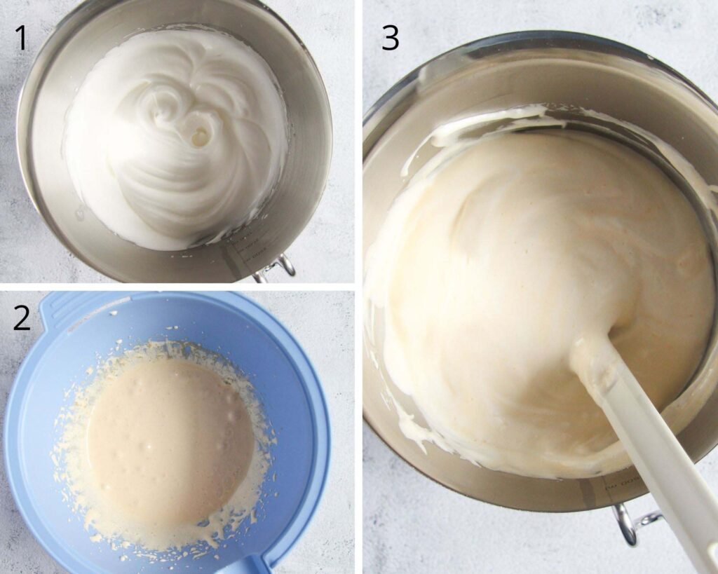 mixing eggs for making batter in bowls.