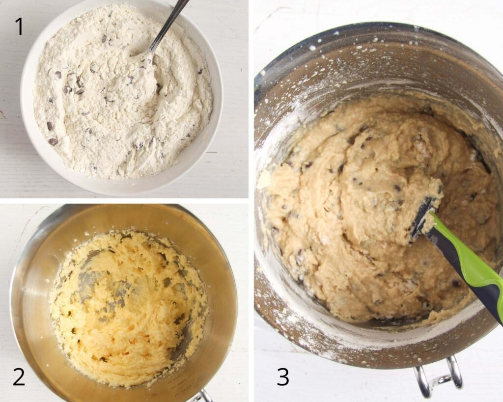 collage of three pictures making batter in a bowl.