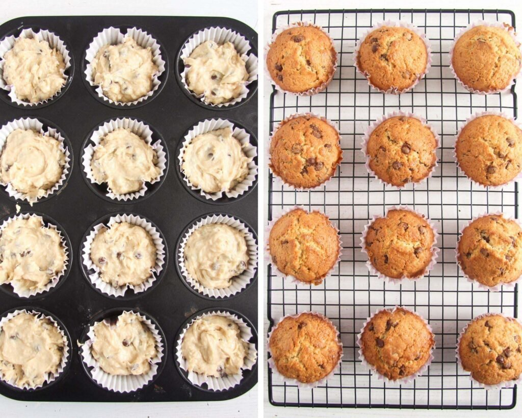 collage of two pictures showing unbaked and baked muffins.